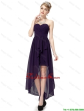 Cheap High Low Sweetheart Purple Prom Dresses with Ruching DBEE022FOR