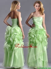 Classical Beaded and Bubble Organza Prom Dress in Yellow Green THPD081FOR