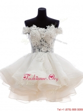 Classical Off the Shoulder White Prom Dress with Appliques SWPD019FOR