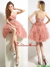 Classical Sweetheart Beaded and Ruffled Short Prom Dress in Peach BMT0183AFOR
