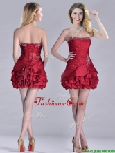 Classical Taffeta Wine Red Short Prom Dress with Beading and Bubbles THPD030FOR