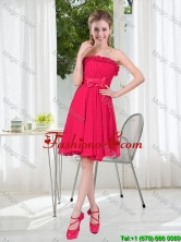 Coral Red Strapless Bowknot Prom Dresses for 2016 Summer BMT001D-2FOR