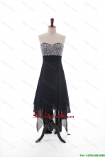 Custom Made Empire Strapless Beaded High Low Prom Dresses in Black DBEES201FOR