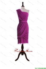 Custom Made Ruching and Belt Short Prom Dresses in Fuchsia DBEES250FOR
