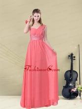 Decent Floor Length Belt One Shoulder Prom Dress Fitted BMT008BFOR