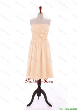 Discount 2016 Bowknot Peach Short Prom Dresses in Chiffon DBEES039FOR