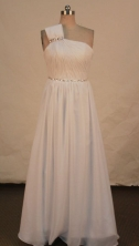 Discount A-line One-shoulder Neck Floor-length Chiffon White Beading Prom Dresses Style FA-C-201