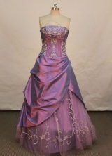 Discount A-line Strapless Floor-length Prom Dresses Embroidery with Beading Style FA-Z-00145