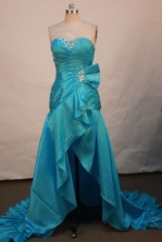 Discount A-line Sweetheart Brush Prom Dresses Appliques with Beading Style FA-Z-00158