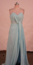Discount A-line Sweetheart-neck Floor-length Chiffon Light Blue Beading Prom Dresses Style FA-C-216