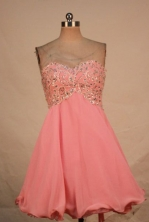 Discount A-line Sweetheart-neck Mini-length Pink Appliques With Beading Prom Dresses Style FA-C-148