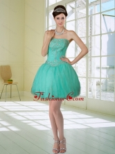 Discount Apple Green Strapless 2015 Prom Dresses with Embroidery and Beading QDZY218TZCFOR