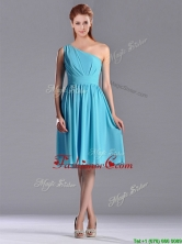 Discount Chiffon Baby Blue Knee Length Prom Dress with One Shoulder THPD016FOR
