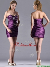 Discount Column Beaded Bust and Ruched Prom Dress in Dark Purple THPD177FOR
