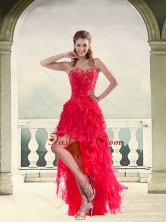 Discount Coral Red Ball Gown Strapless Prom Dresses with Ruffles and Beading QDZY034-2TZBFOR