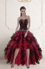 Discount High Low Sweetheart Multi Color Prom Gown with Ruffles and Beading XFNAO5800TZBFOR