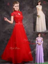 Discount High Neck Applique and Laced Prom Dress with Cap Sleeves BMT0171FOR