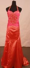Discount column halter top brush red beading prom dresses FA-X-112