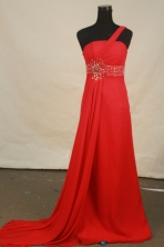 Discount empire one shoulder brush chiffon beading prom dresses FA-X-124