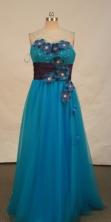 Discount empire sweetheart-neck floor-length blue appliques prom dresses FA-X-123