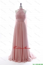 Discout Halter Top Red Prom Dresses with Ruching DBEES005FOR