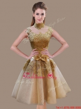 Elegant A Line High Neck Champagne Prom Dress with Appliques and Bowknot SWPD020FBFOR