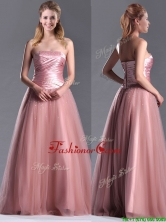 Elegant A Line Tulle Beaded Long Prom Dress in Peach THPD182FOR