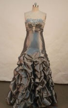 Elegant A-line Strapless Floor-length Prom Dresses Appliques with Beading Style FA-Z-00162
