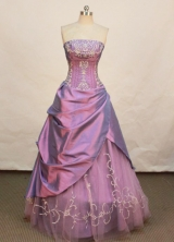 Elegant A-line Strapless Floor-length Taffeta Lavender Prom Dresses Embroidery with Beading Style FA-Z-00145