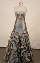 Elegant A-line Strapless Floor-length taffeta Prom Dresses Appliques with Beading Style FA-Z-00162
