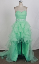 Discount A-line Sweetheart Knee-length High-low Turquoise Prom Dress LHJ42862