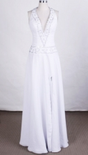 Elegant Column Halter Top Floor-length Chiffon White Prom Dresses Beading Style FA-Z-00157