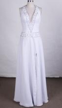 Elegant Column Halter Top Floor-length Prom Dresses Beading Style FA-Z-00157