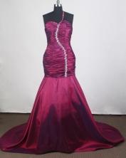 Elegant Column One Shoulder Brush Burgundy Prom Dress LHJ42876