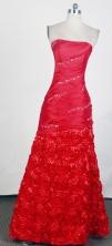 Elegant Column Strapless Floor-length Red Prom Dress LHJ42825