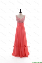 Elegant Empire Straps Beaded Custom Made 2016 Prom Dresses with Beading DBEES190FOR