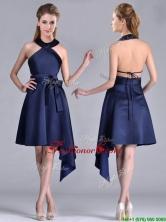 Elegant Halter Top Asymmetrical Navy Blue Prom Dress in Satin THPD026FOR
