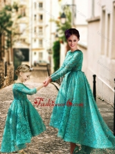 Elegant Long Sleeves Prom Dress with Lace and Modest High Low Little Girl Dress with Half Sleeves DXZH007FOR
