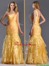 Elegant Mermaid One Shoulder Organza Ruffled Prom Dress in Gold THPD285FOR