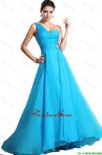 Elegant One Shoulder Aqua Blue Prom Dresses with Brush Train DBEE610FOR