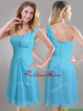 Elegant One Shoulder Ruched Chiffon Prom Dress in Aqua Blue THPD237FOR