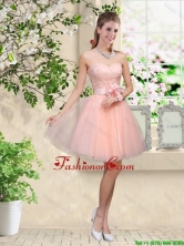 Elegant Sweetheart Baby Pink Prom Dresses with Appliques and Belt BMT042CFOR