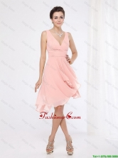 Elegant V Neck Side Zipper Prom Dresses with Asymmetrical DBEE032FOR