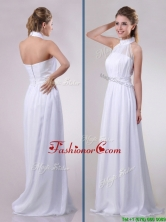 Empire Halter Top Applique Decorated Waist White Prom Dress in Chiffon THPD047FOR