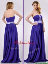 Empire Strapless Beaded Purple Long Prom Dress for Evening THPD284FOR