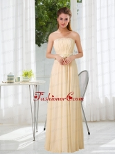 Empire Strapless Ruching and Belt Prom Dress with Floor Length BMT016AFOR