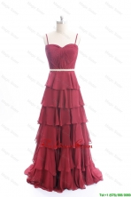 Exclusive Brush Train Belt and Ruffled Layers Prom Dresses in Wine Red DBEES126FOR
