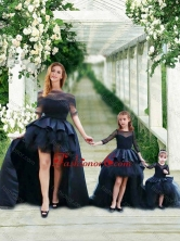 Exclusive Column Long Sleeves Prom Dress with Brush Train and Affordable Ruffled and Laced Little Girl Dress in Watermelon Red DXZH014FOR