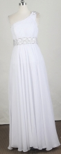 Exclusive Empire One Shoulder Floor-length White Prom Dress LHJ42882