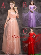Exclusive See Through Scoop Applique and Laced Prom Dress with Half Sleeves BMT0160FOR